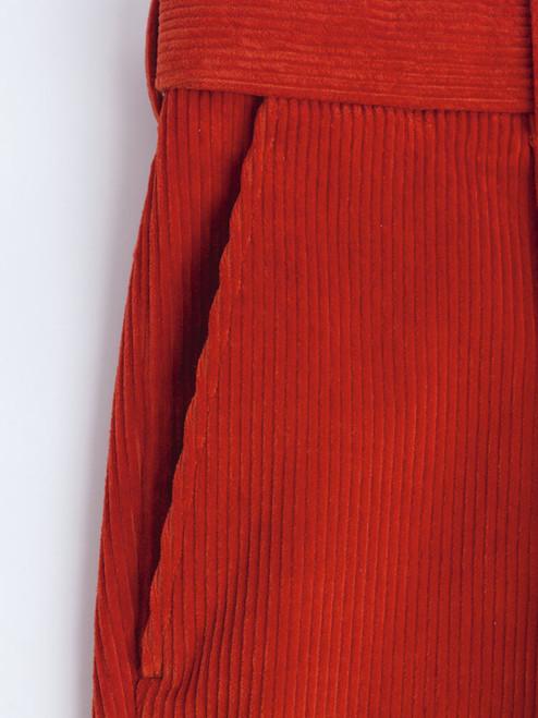 Close Up of Mens Burnt Orange Corduroy Trousers Fabric
