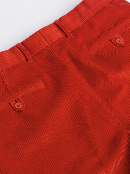 Close Up of Mens Burnt Orange Corduroy Trousers Rear Pockets