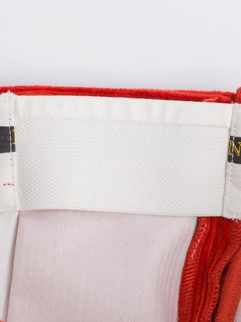 Close Up of Mens Burnt Orange Corduroy Trousers Expanding Waistband