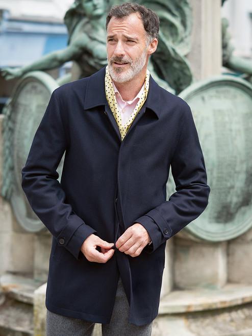 Navy Wool & Cashmere Coat