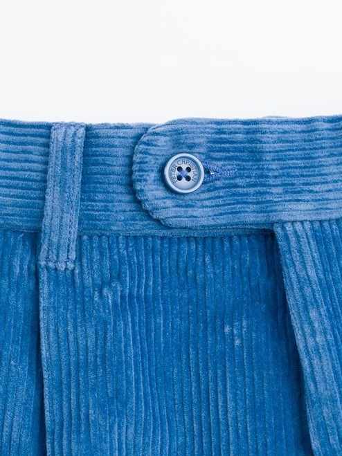 Close Up of Mens Royal Blue Corduroy Trousers Fabric