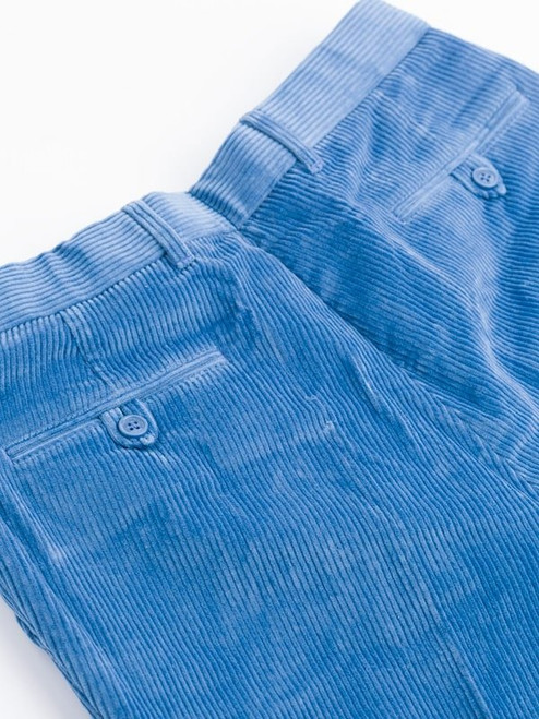 Close Up of Mens Royal Blue Corduroy Trousers Rear Pockets