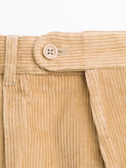 Close Up of Mens Sand Brown Corduroy Trousers Fabric