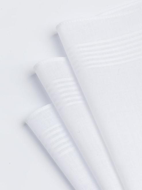 6 Pack White Cotton Handkerchiefs