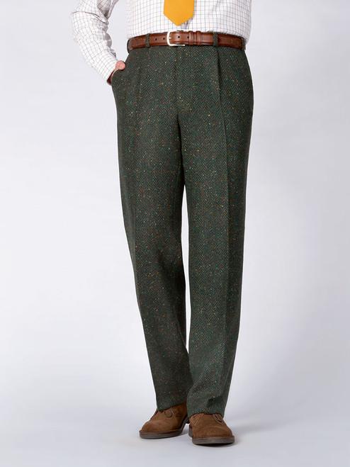 Kelp Green Donegal Tweed Trousers