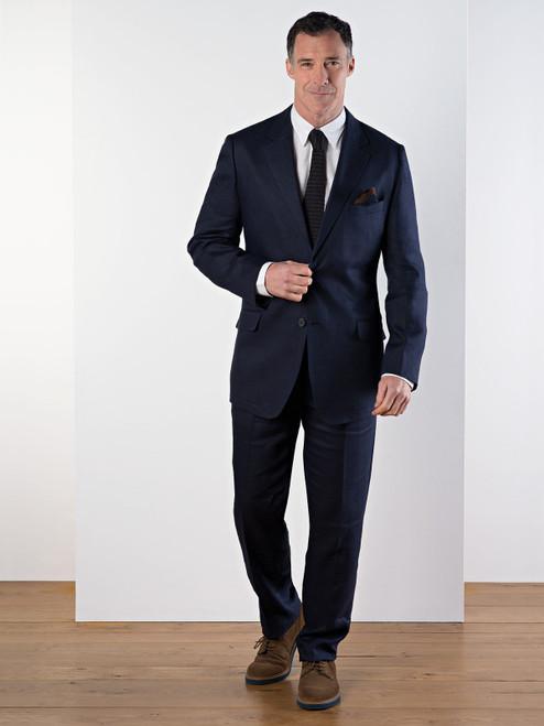 Model Wears Navy Linen Suit