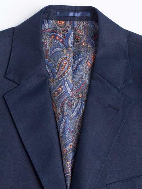 Paisley Lining on Navy Linen Suit