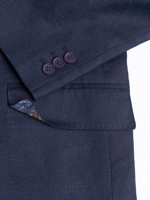 Working Button Cuff on Navy Linen Suit