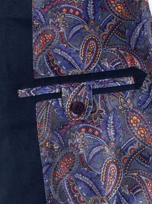 Inside Pocket on Navy Linen Suit