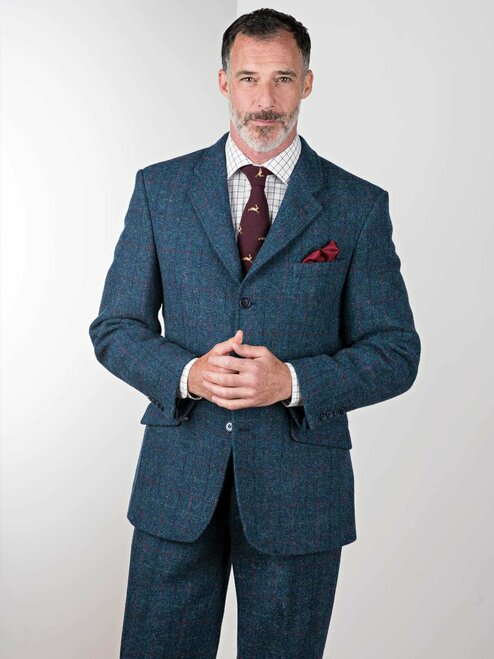 Image of Marine Blue Harris Tweed 2 Piece Suit