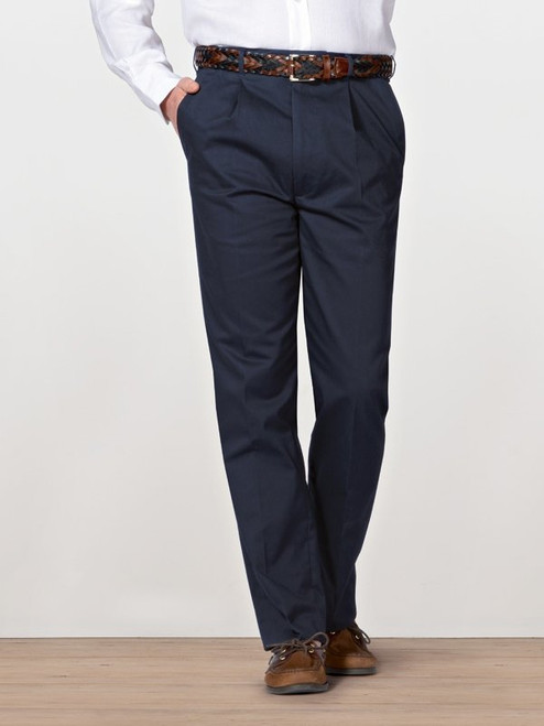 Image of Navy Blue Pleated Chino Trousers