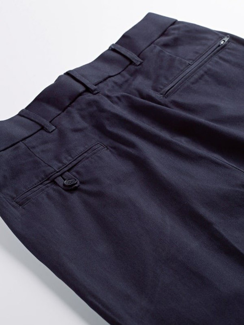 Close Up of Navy Blue Pleated Chino Trousers Rear Pockets