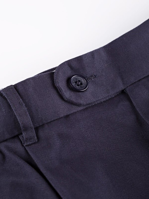 Close Up of Navy Blue Pleated Chino Trousers Front Detail
