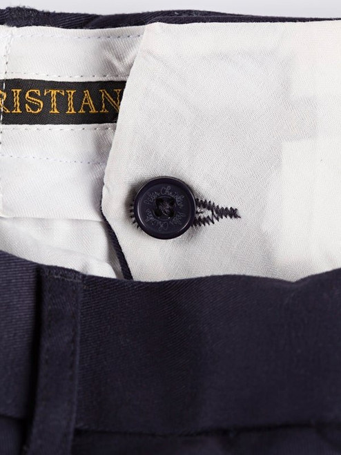Close Up of Navy Blue Pleated Chino Trousers French Bearer