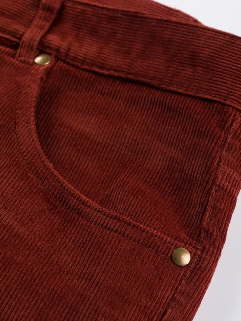 Close Up of Chestnut Red Needle Cord Jeans Fabric
