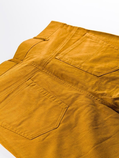 Close Up of Gold Yellow Needle Cord Jeans Rear Pockets