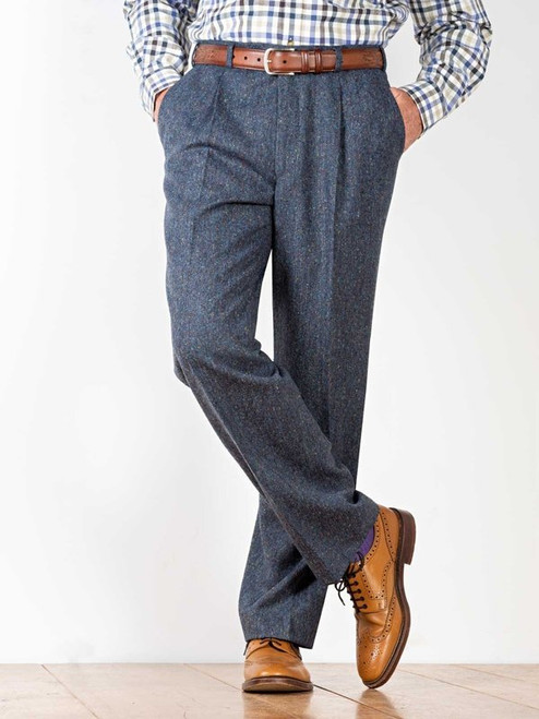 Image of Blue Fine Donegal Tweed Trousers