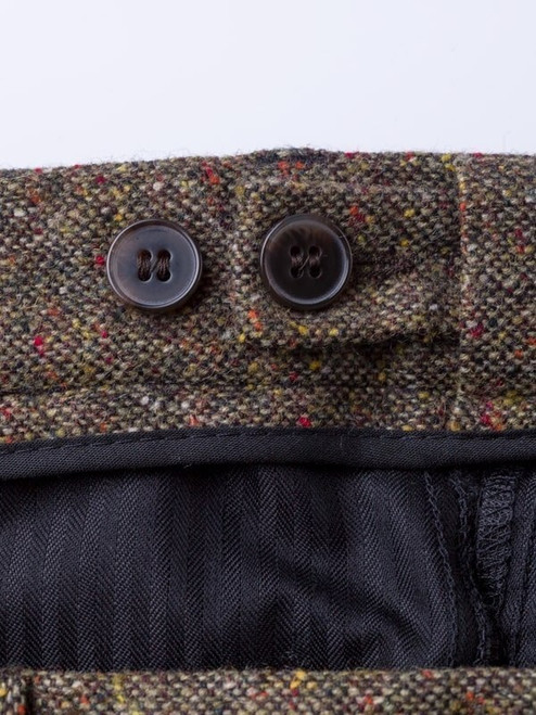 Close Up of Bronze Fine Donegal Tweed Trousers Adjustable Waistband