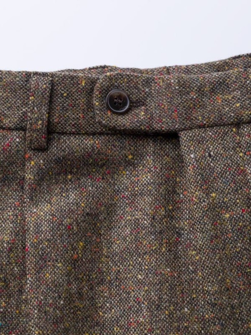 Close Up of Bronze Fine Donegal Tweed Trousers Button Detail