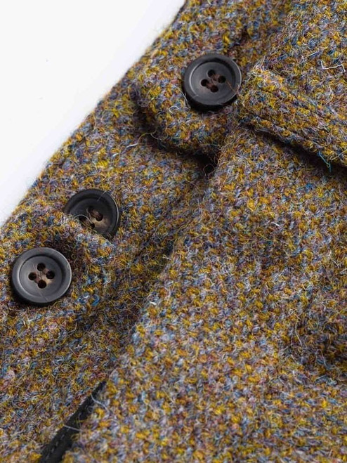 Close Up of Lichen Green Harris Tweed Trousers Adjustable Waistband