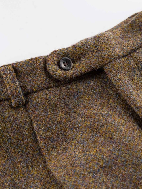 Close Up of Lichen Green Harris Tweed Trousers Fabric
