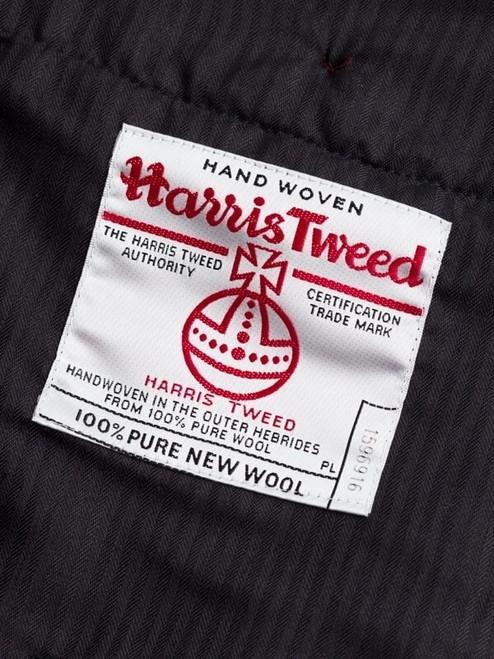Close Up of Marine Blue Harris Tweed Trousers Orb Logo