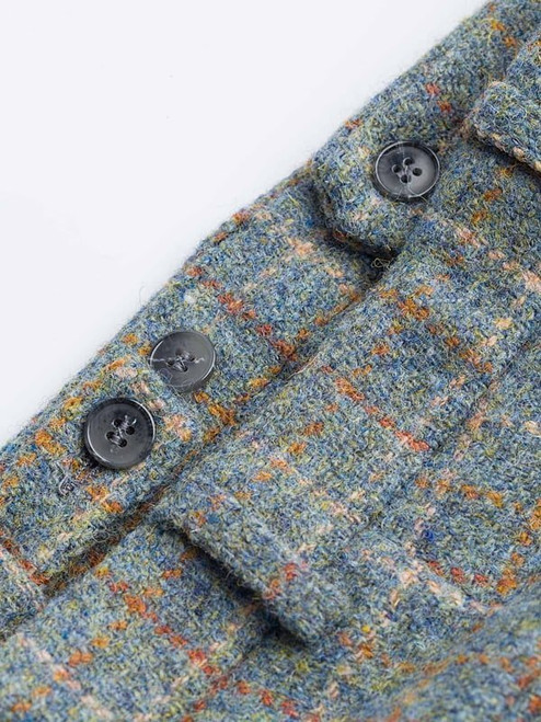 Close Up of Mist Blue Harris Tweed Trousers Fabric