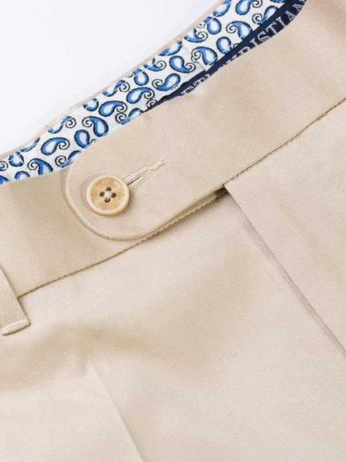 Sand Finest Cotton & Silk Chino Trousers