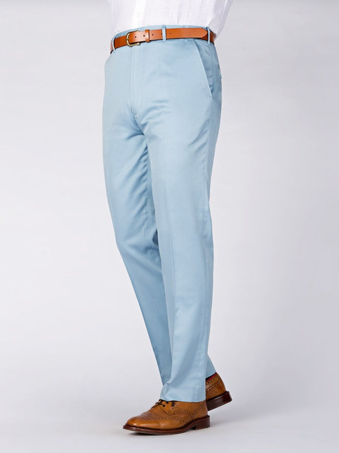 Sky Blue Finest Cotton & Silk Chino Trousers