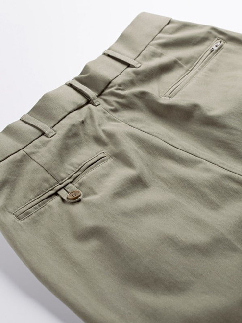 Close Up of Sage Green Pleated Chino Trousers Rear Pockets