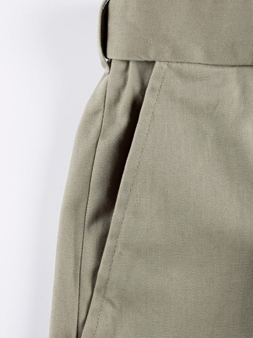 Close Up of Sage Green Pleated Chino Trousers Pocket Detail