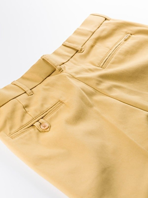 Close Up of Mustard Yellow Flat Front Chino Trousers Rear Pockets