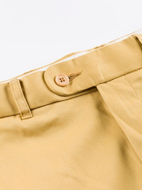 Close Up of Mustard Yellow Flat Front Chino Trousers Details