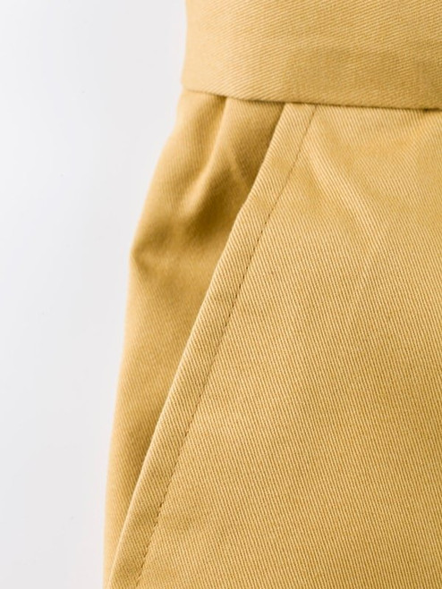 Close Up of Mustard Yellow Flat Front Chino Trousers Pocket