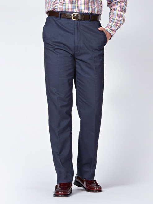 Image of Navy Blue Flat Front Chino Trousers