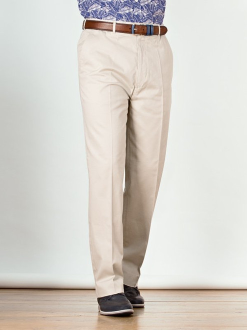 Image of Stone White Flat Front Chino Trousers