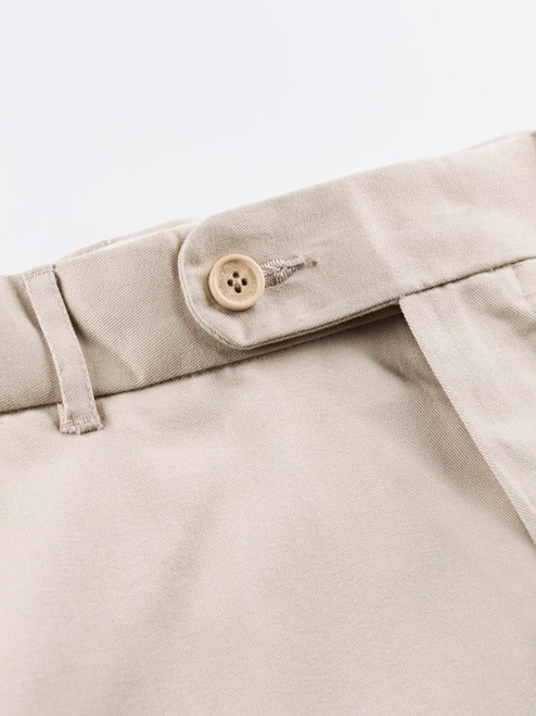 Close Up of Stone White Flat Front Chino Trousers Details