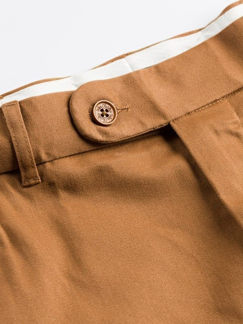 Close Up of Tan Brown Flat Front Chino Trousers Detail