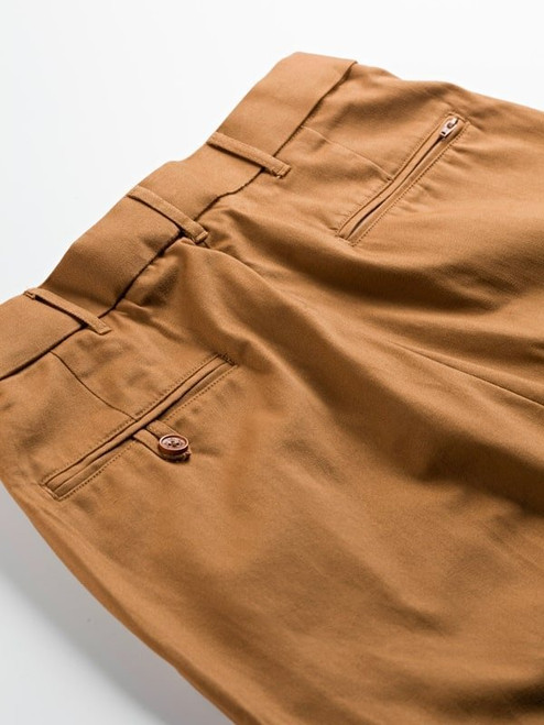 Close Up of Tan Brown Flat Front Chino Trousers Rear Pockets