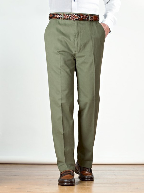 Image of Green Flat Front Chino Trousers