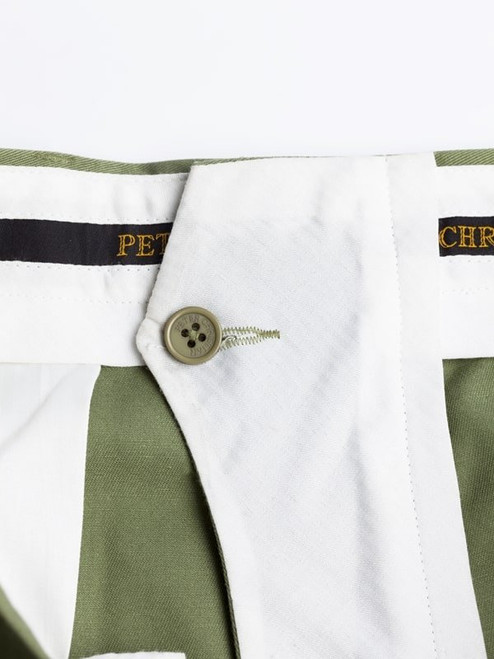 Close Up of Green Flat Front Chino Trousers French Bearer