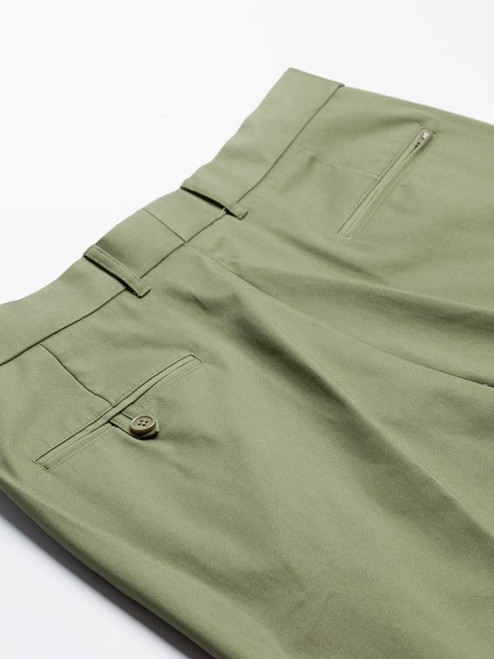 Close Up of Green Flat Front Chino Trousers Rear Pockets