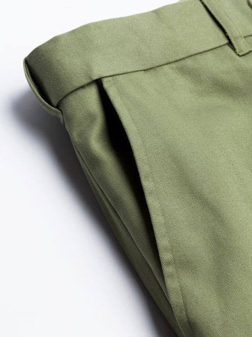 Close Up of Green Flat Front Chino Trousers Pocket