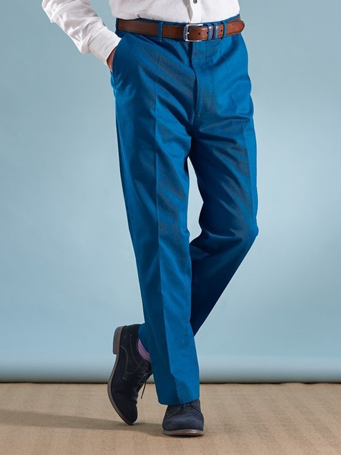 Image of Royal Blue Flat Front Chino Trousers