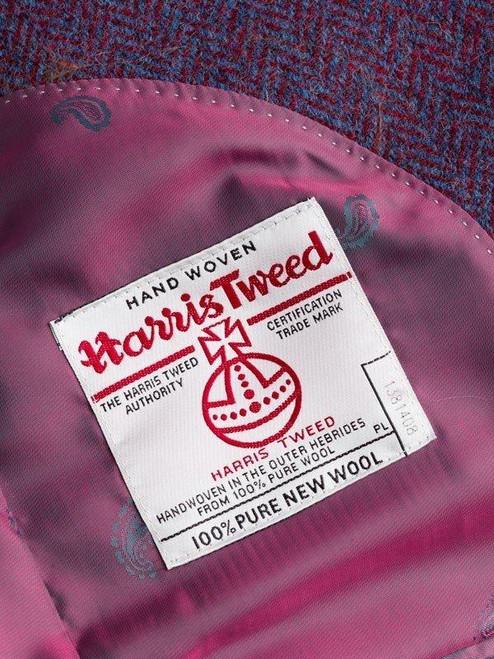 Close Up of Burdock Purple Harris Tweed 3 Button Jacket Orb Logo