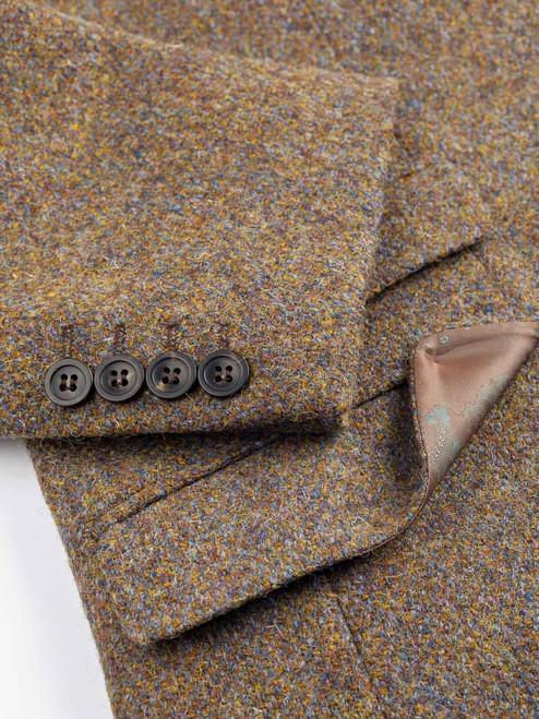 Close Up of Lichen Green Harris Tweed 3 Button Jacket Fabric