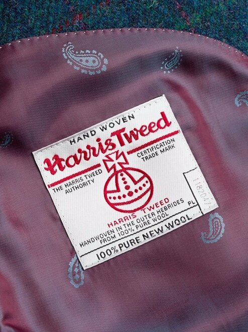 Close Up of Marine Blue Harris Tweed 3 Button Jacket Orb Logo