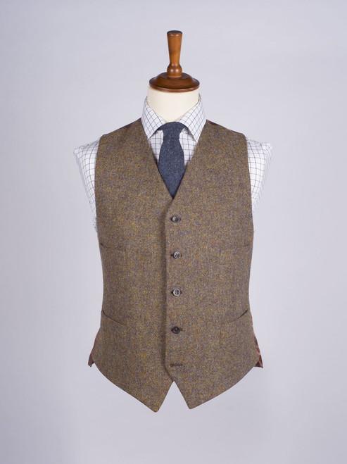 Image of Lichen Green Brown Harris Tweed Waistcoat
