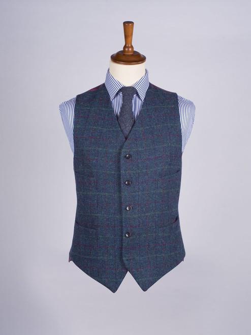 Image of Marine Blue Harris Tweed Waistcoat
