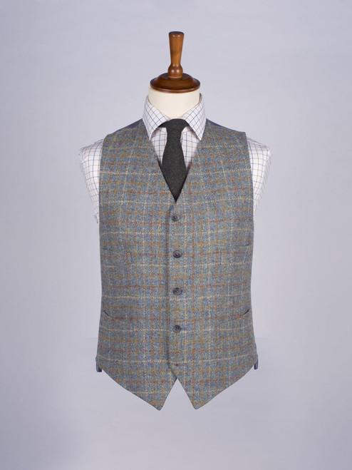 Image of Mist Blue Harris Tweed Waistcoat